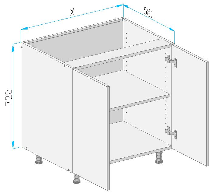 Sd2 base cabinet from the offer of kitchen cabinets for Kitchen cabinets 700mm