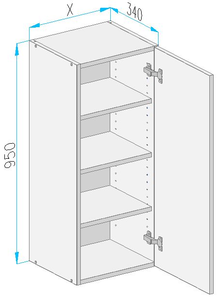Sgm1 wall cabinet from the offer of kitchen cabinets for Kitchen cabinets 500mm depth